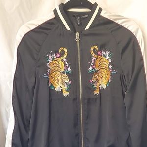 Lightweight Satin Bomber Jacket w/ Embroidery